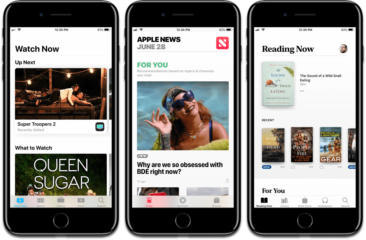 screenshots of apple news