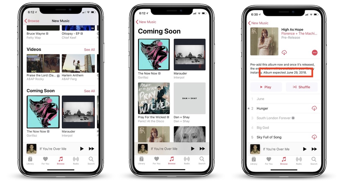 Screenshots of new changes to Apple Music, which will include album launch dates.
