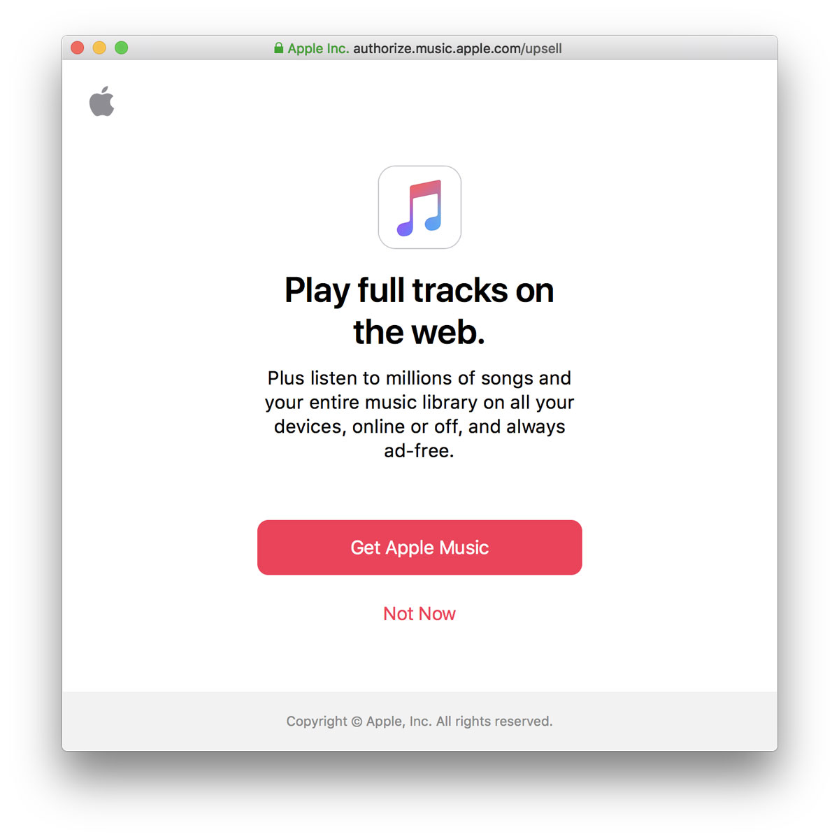 apple music web player ad