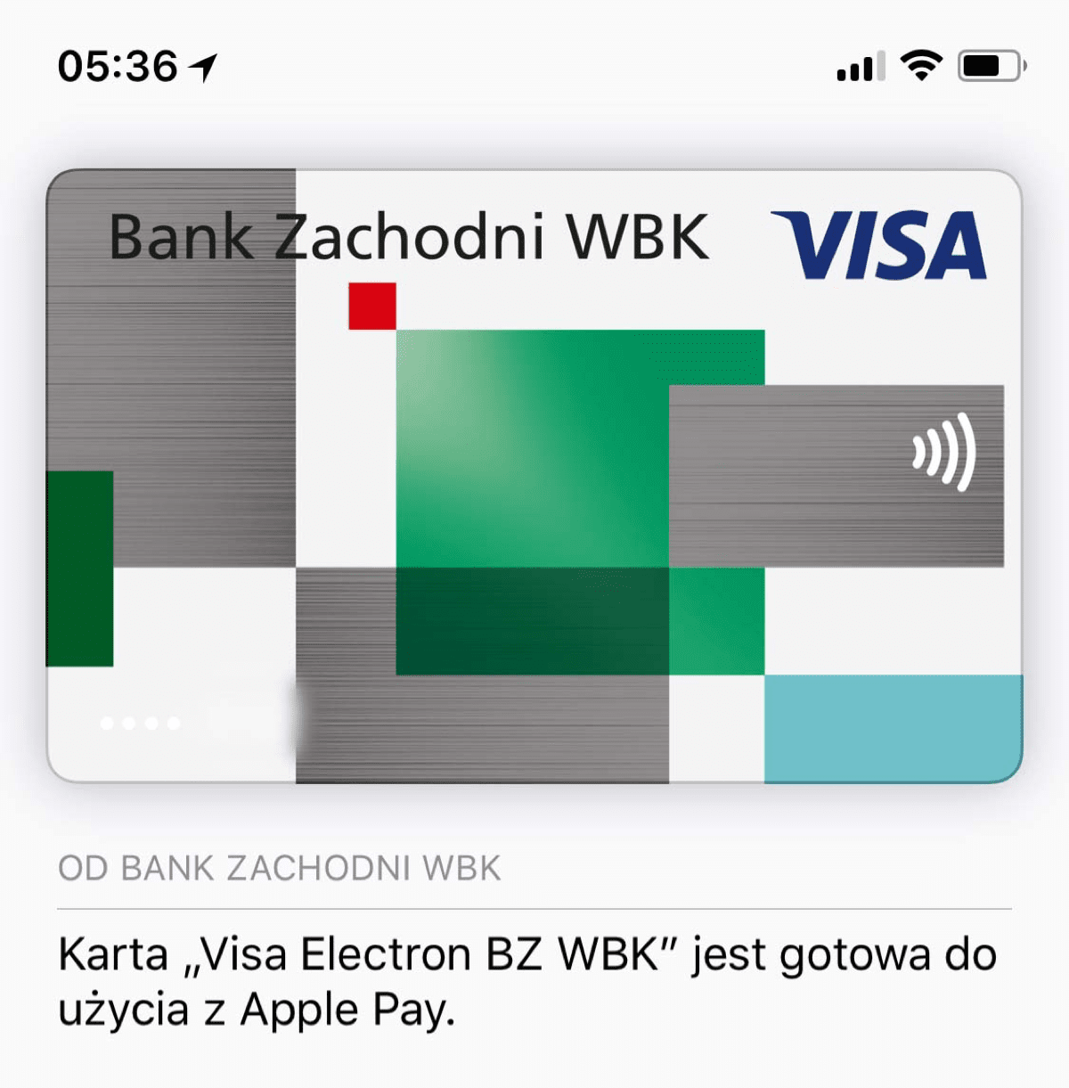 Apple Pay in Poland. Image of example card.