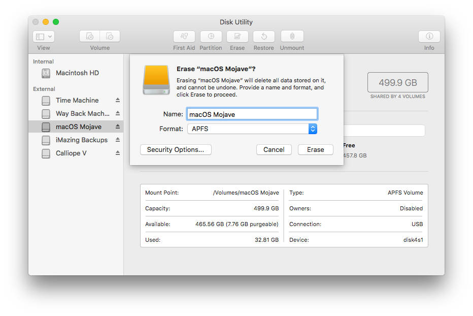 Standard format options for Disk Utility on the Mac