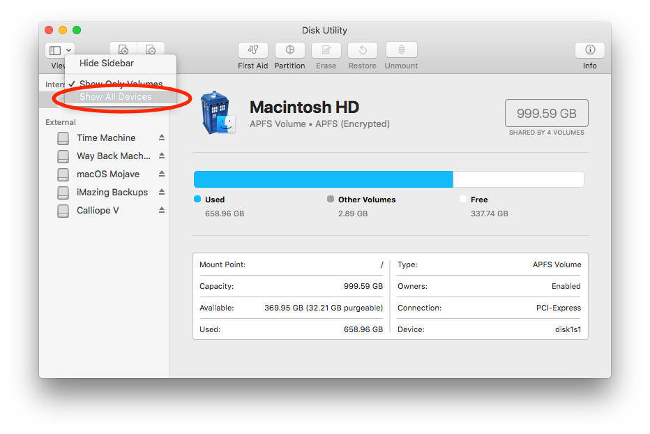 Mac Disk Utility View option showing volumes and devices options