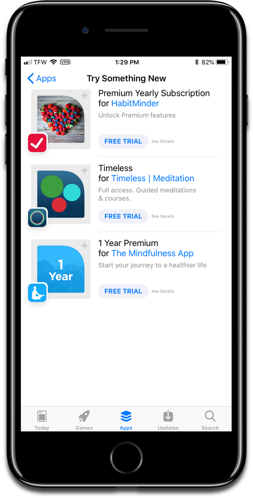 Screenshot of free app trials in the App Store.