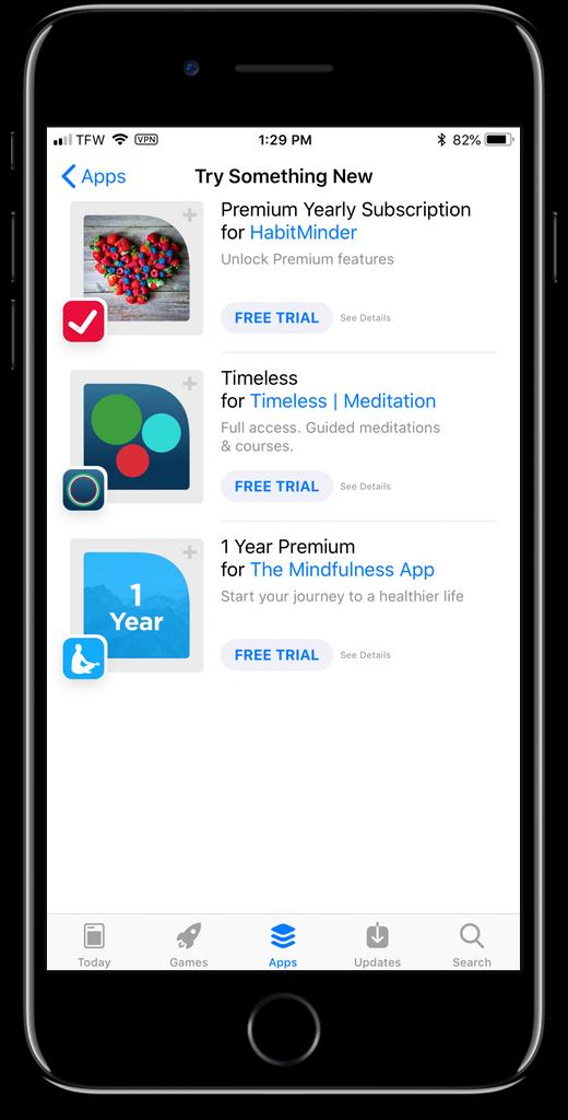Screenshot of free app trials in the App Store.