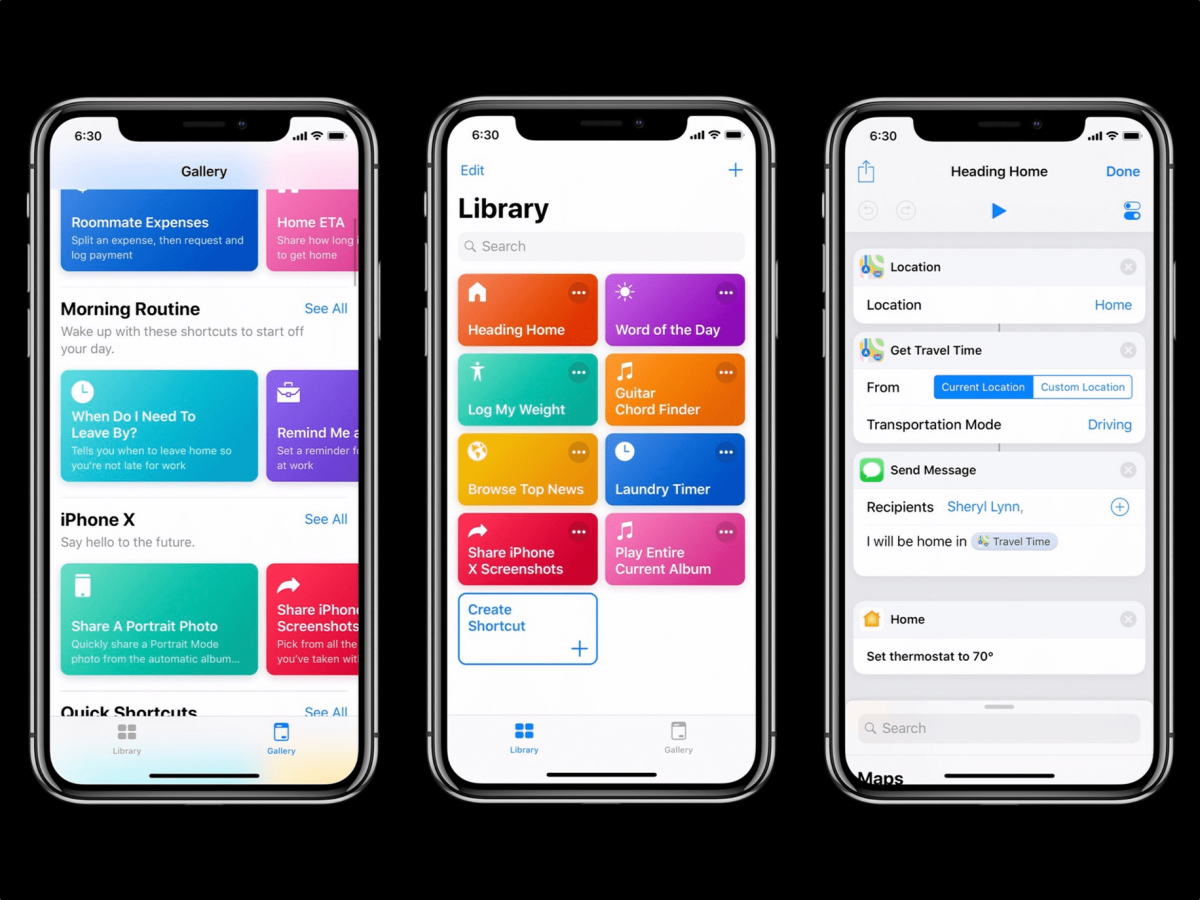 Screenshots of Siri shortcuts on iPhone