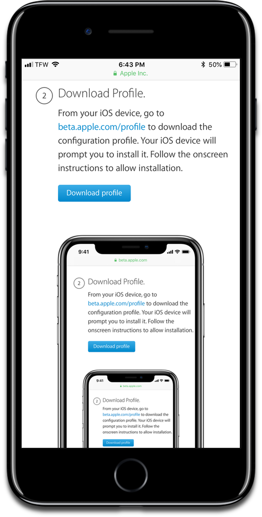 Screenshot of the iOS 12 public beta download page.