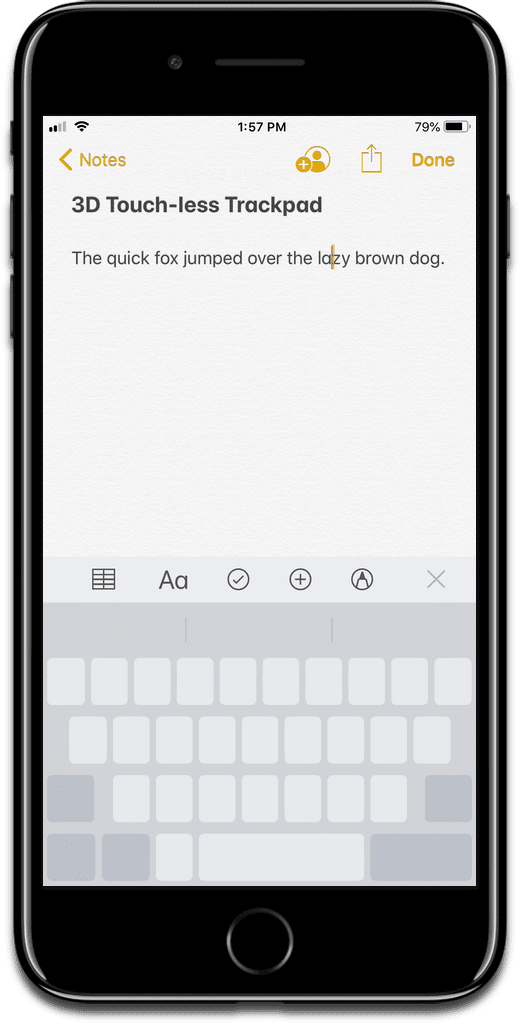 Screenshot of the iOS trackpad in iOS 12.