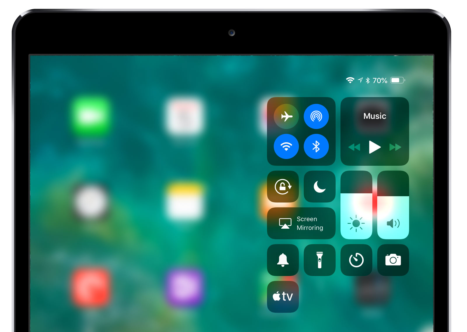 ipad control center ios 12
