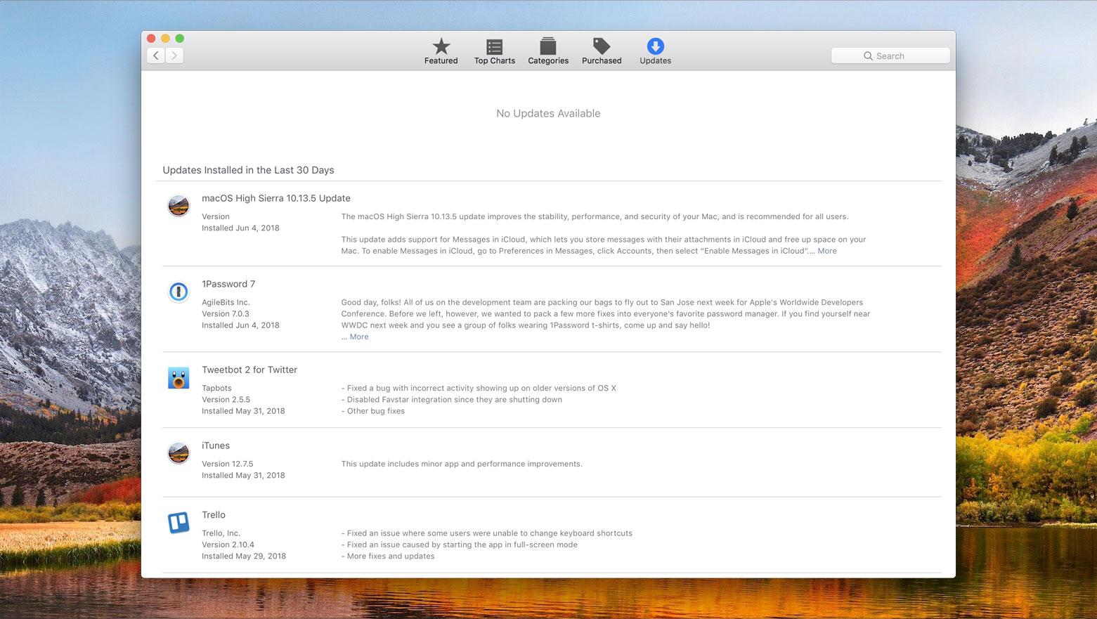mac app store updates high sierra