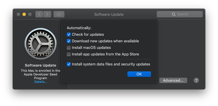 macOS Mojave Advanced software auto-update settings