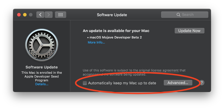 macOS Mojave Software Update preferences