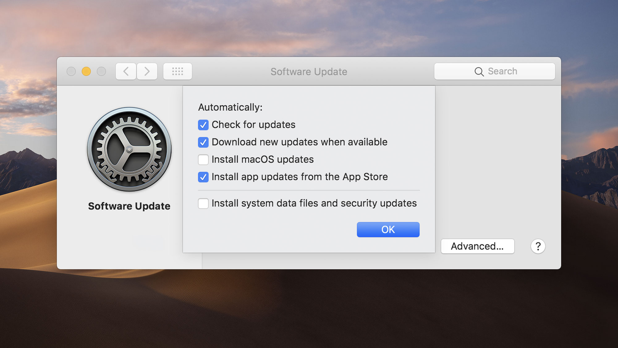 mojave software update advanced