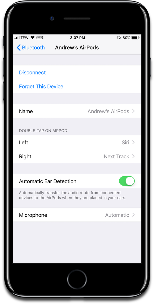 Naming AirPods in iOS settings.