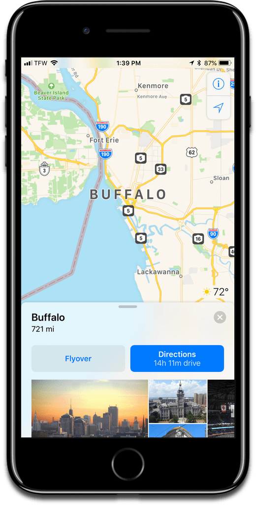 Image of Buffalo, New York in Apple Maps, which shows New York transit.