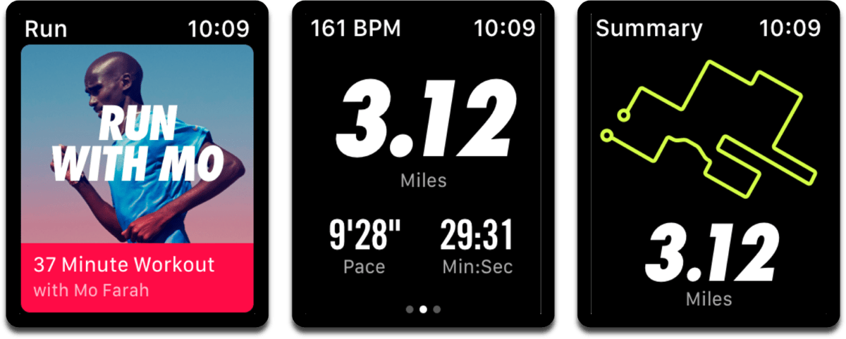 Screenshots of Nike+ Running Club, which adds watchOS fitness complications.