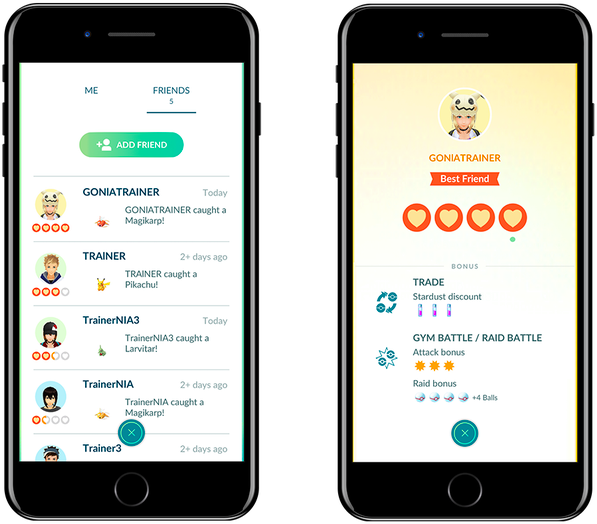 Screenshots of Pokemon Go, which will let you trade Pokemon.