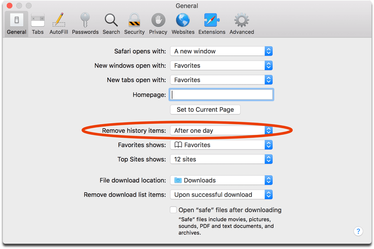 Image of Safari preferences, where you can have it automatically delete Safari browsing history.