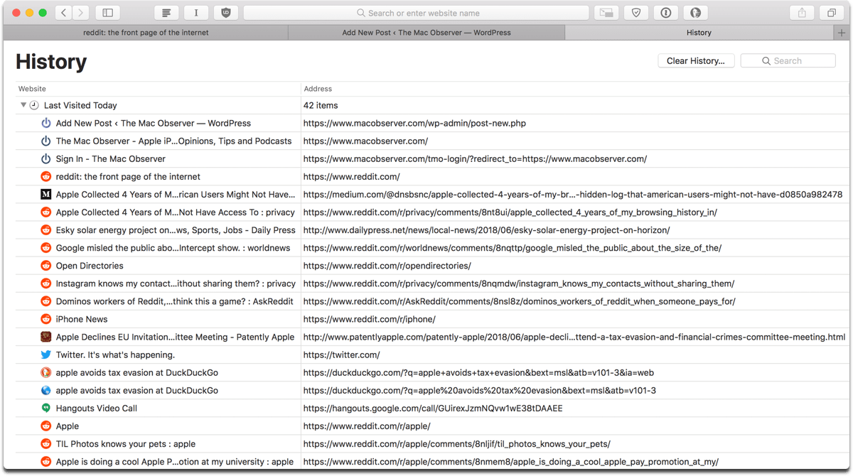 Image of Safari browsing history, which you can search through, delete it all, or selectively delete items.