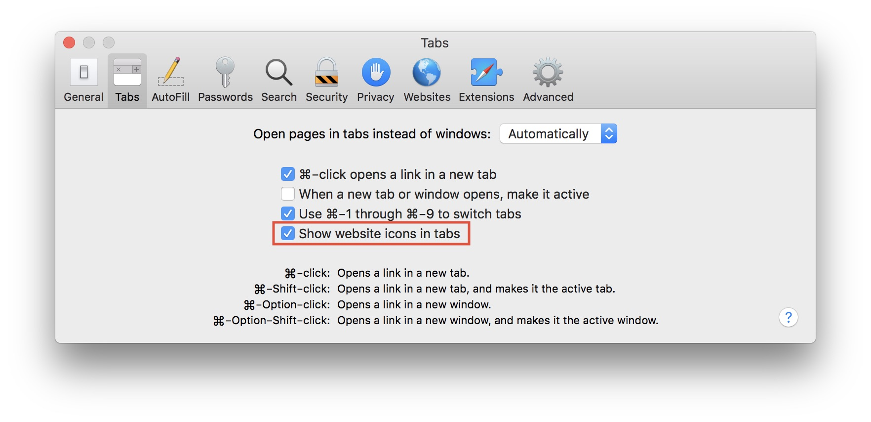 safari show website icons in tabs