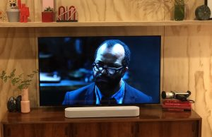 Sonos Beam in Front of TV playing Westworld