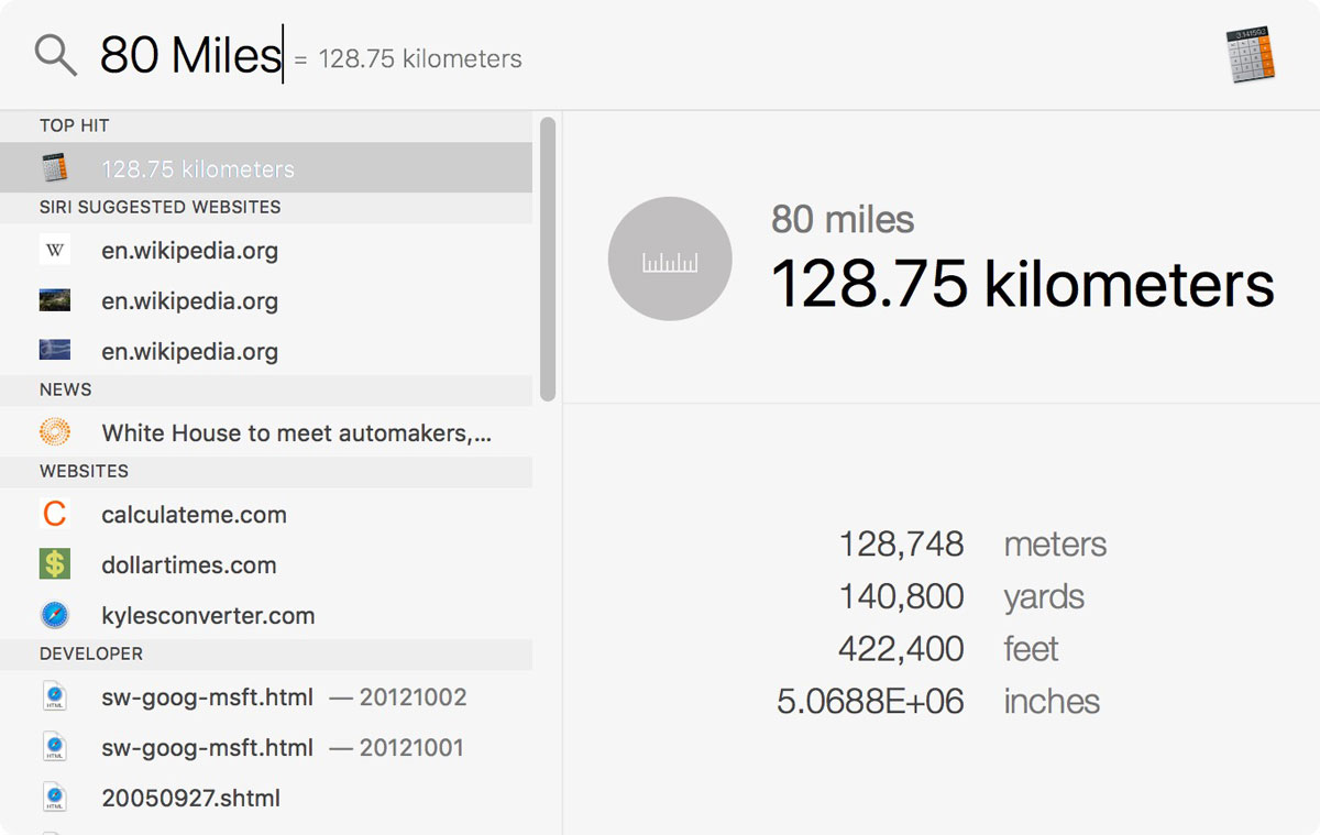 Converting miles into kilometers using macOS Spotlight
