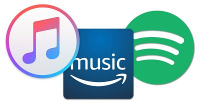 Apple Music, Amazon Prime, and Spotify streaming music services