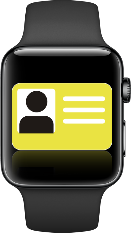 Mockup image of a student ID on Apple Watch.
