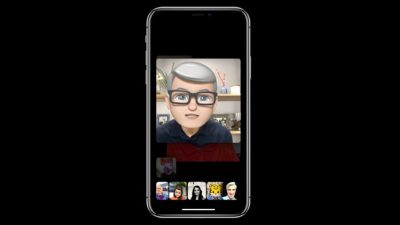 Tim Cook's Memoji in a Group FaceTime chat in iOS 12 at WWDC
