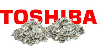 Toshiba with big piles of money