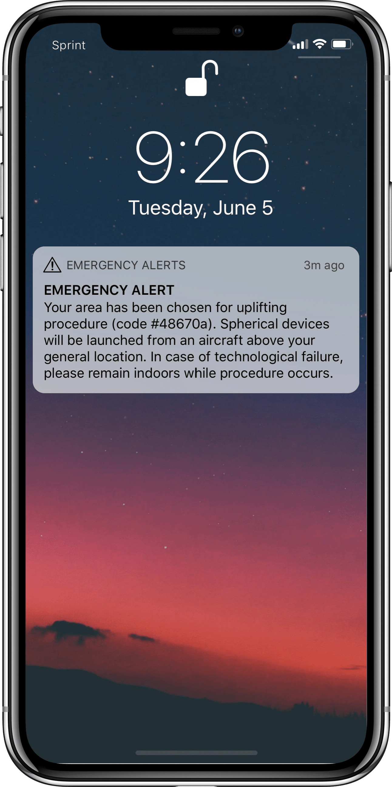 Screenshot of emergency alert. The system for emergency alerts in Virginia was hacked.