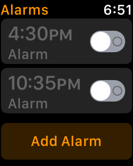 Tap Alarm on Apple Watch to edit snooze option