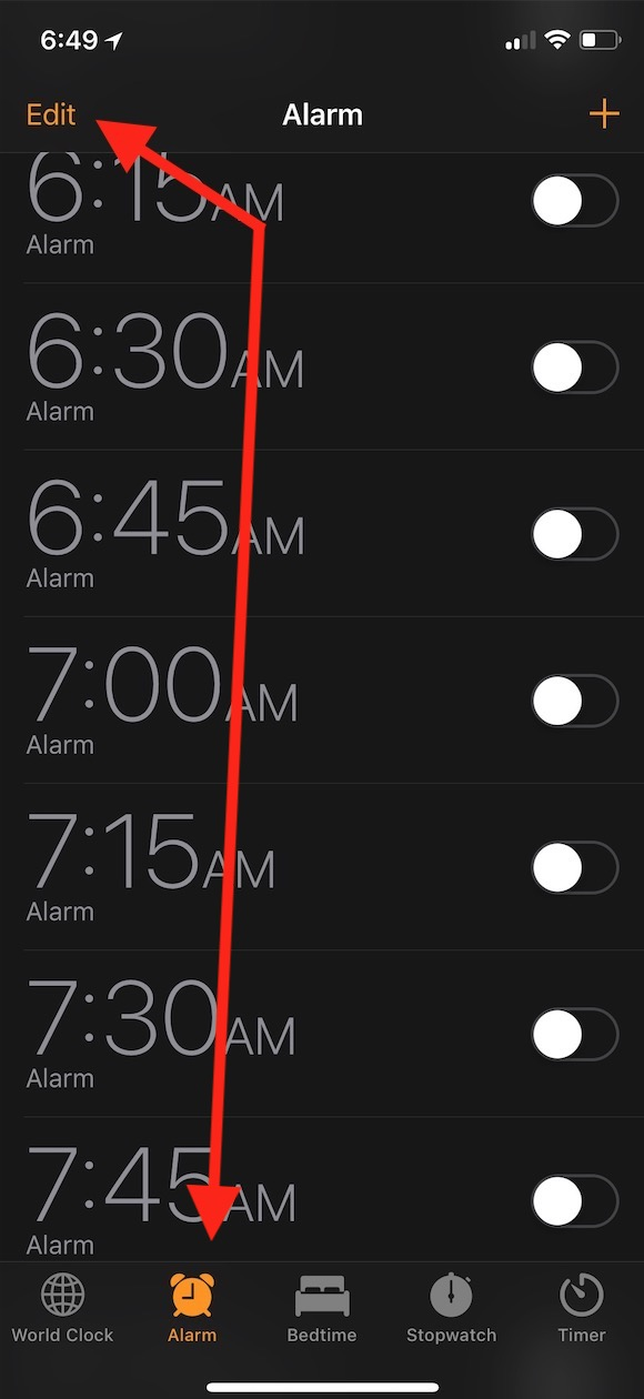 Alarm Tab within Clock App lets you see your alarms and edit their snooze option