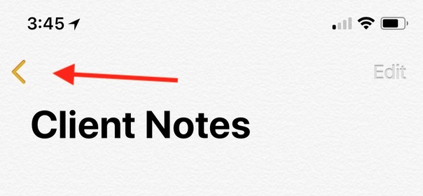 iOS Back Button in Notes