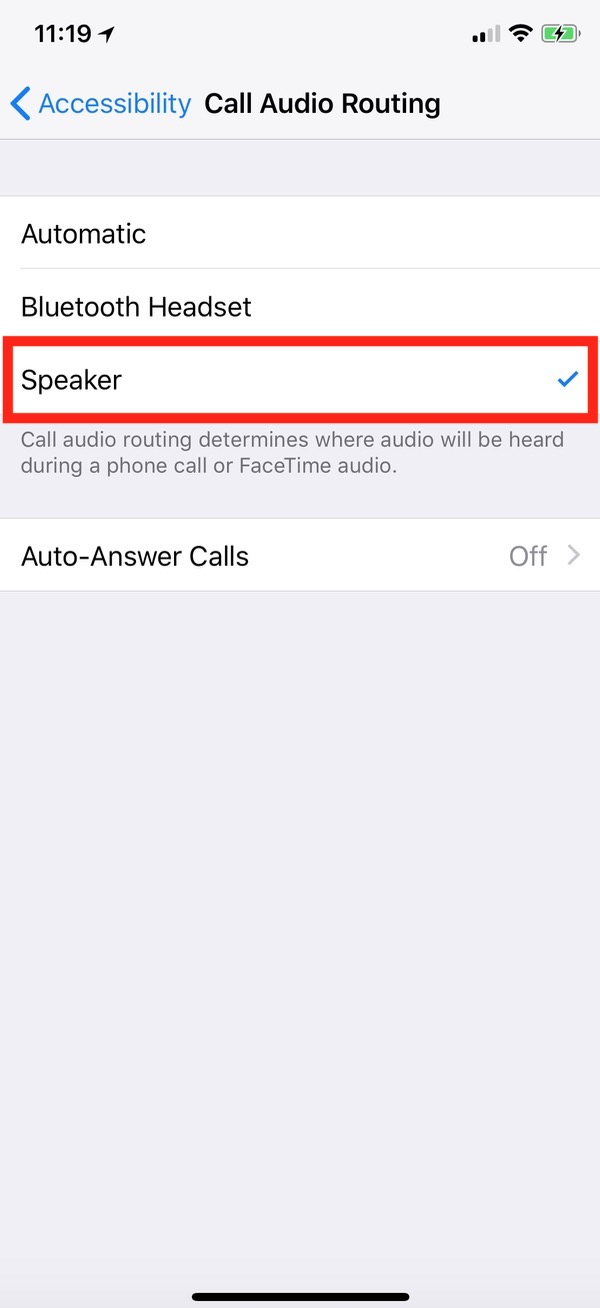iPhone Call Audio Routing Set Speaker as Default