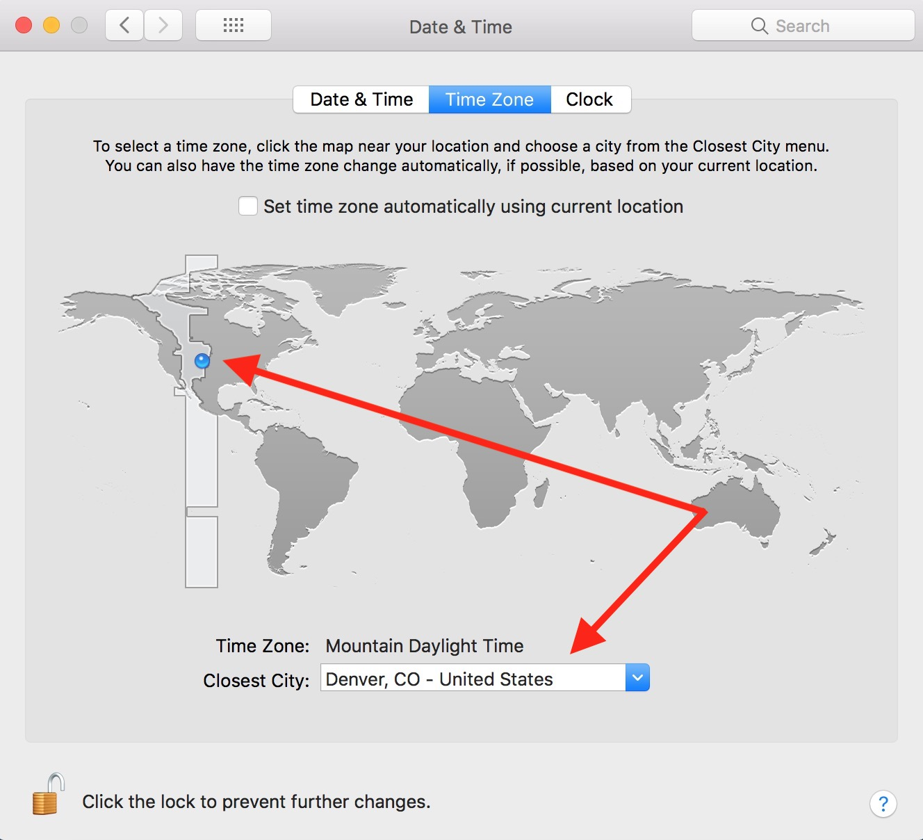 Find Correct City for Date & Time in Mac preferences