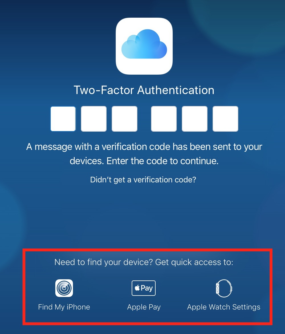 """""""Find My iPhone"""" Option in iCloud two-factor authentication screen"""