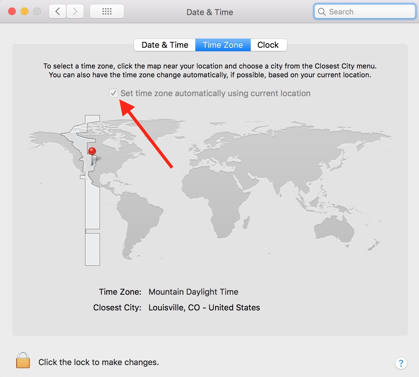 """Set time zone automatically using current location"" Box in Mac Date & Time preferences"