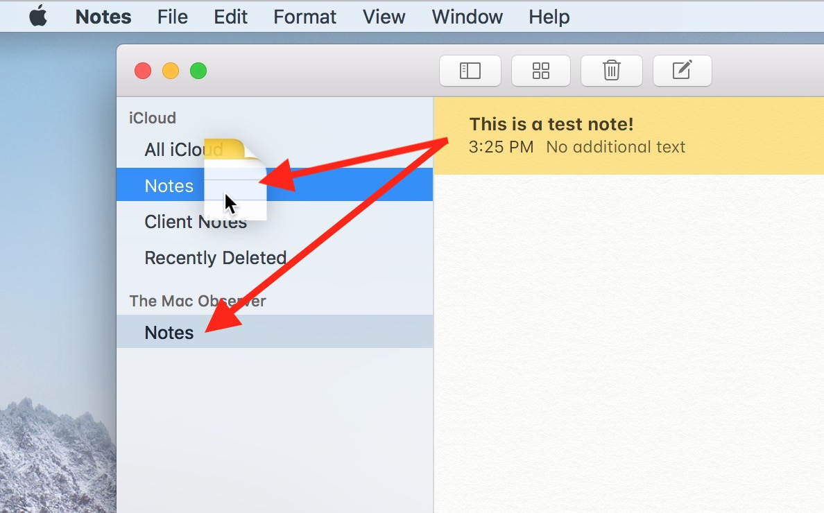 Dragging Notes Between Accounts on the Mac