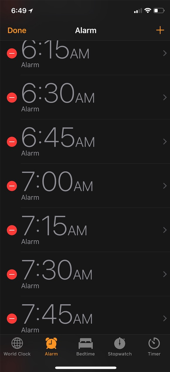 Edit Mode for Alarms lets you delete them or change snooze settings