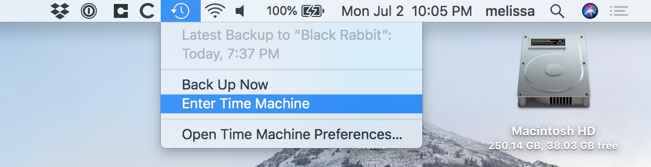 Time Machine Icon in Mac Menu Bar lets you restore from the currently selected folder