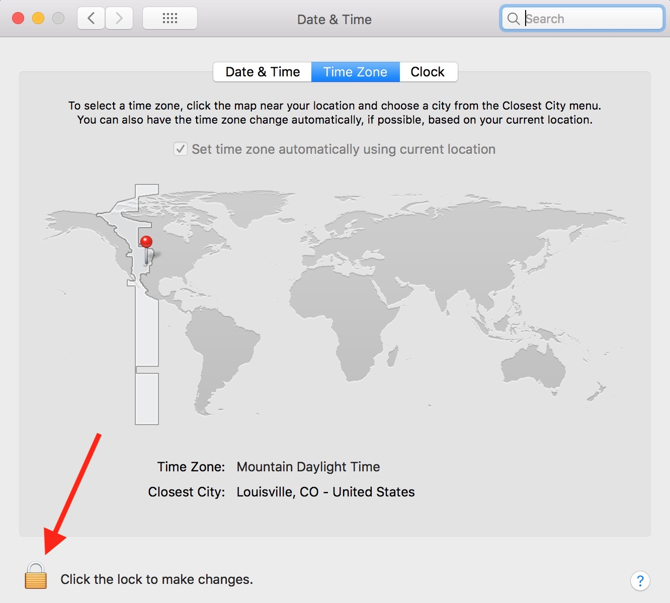 Click Lock to Authorize in Mac Date & Time preferences to change automatic time zone setting