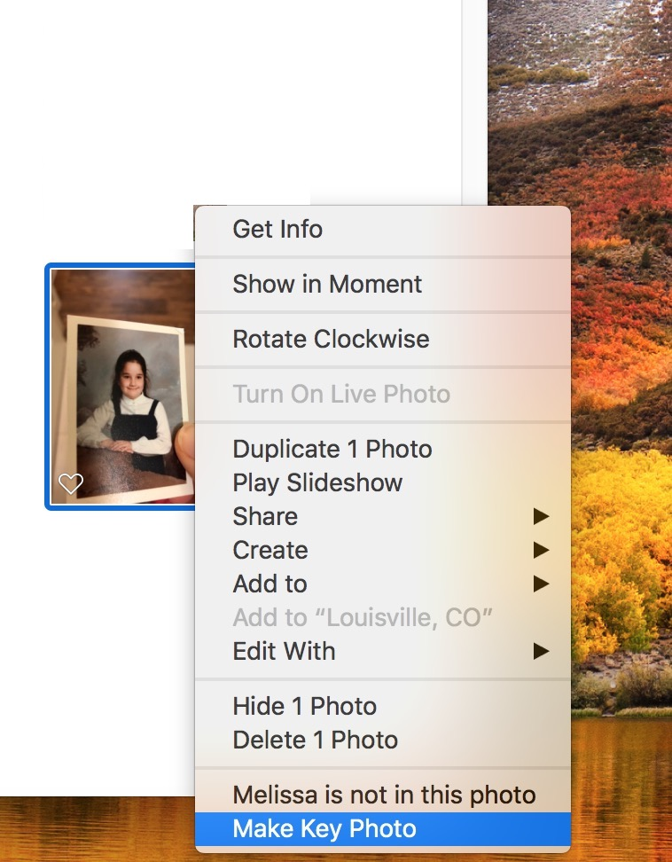 """Make Key Photo"" from Contextual Menu in Photos on Mac"