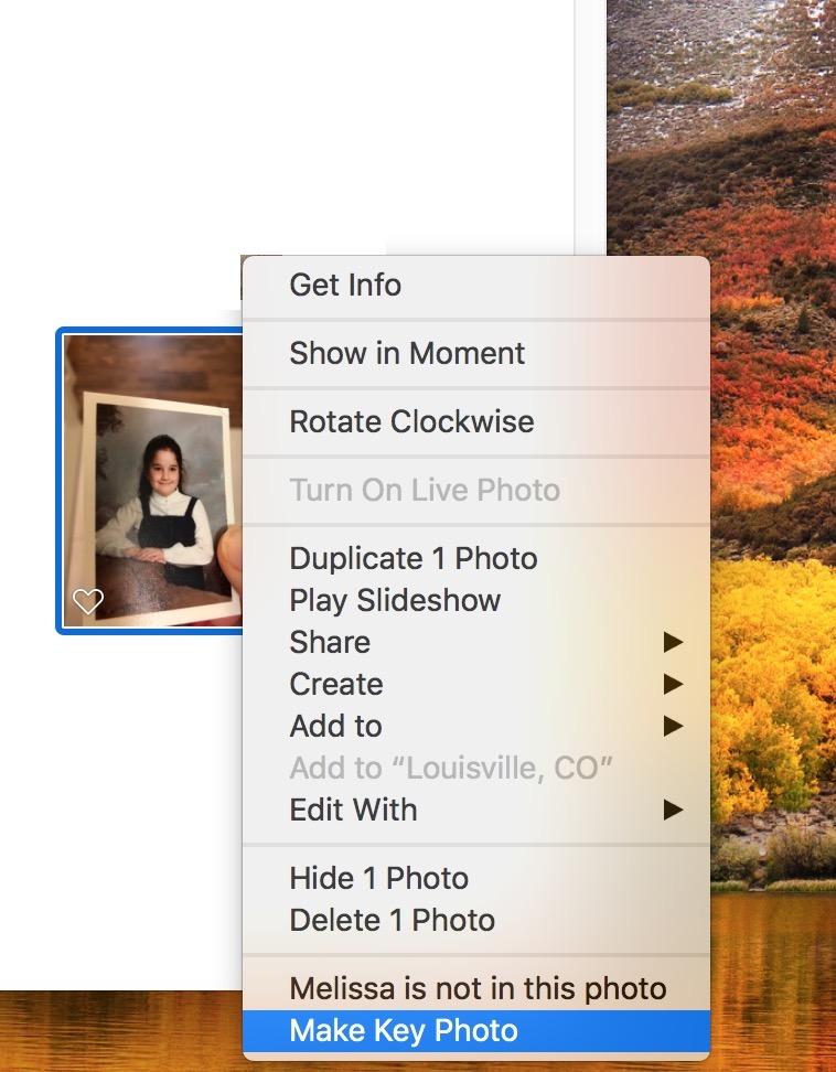 """Make Key Photo"" from Contextual Menu in Photos on Mac"