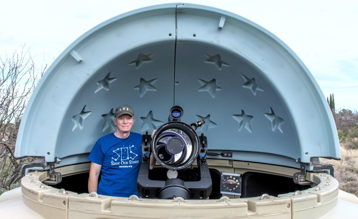 Mike Weasner in his observatory.