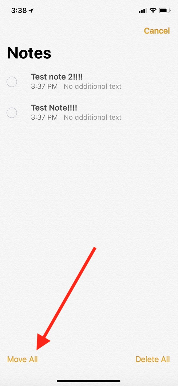 """Move All"" Button in Notes on iPhone"