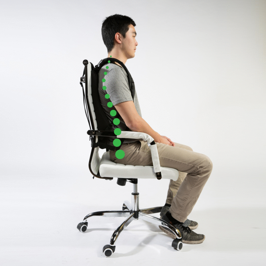 And here's what Posture Keeper looks like in use. (The green dots denote proper spinal posture.)