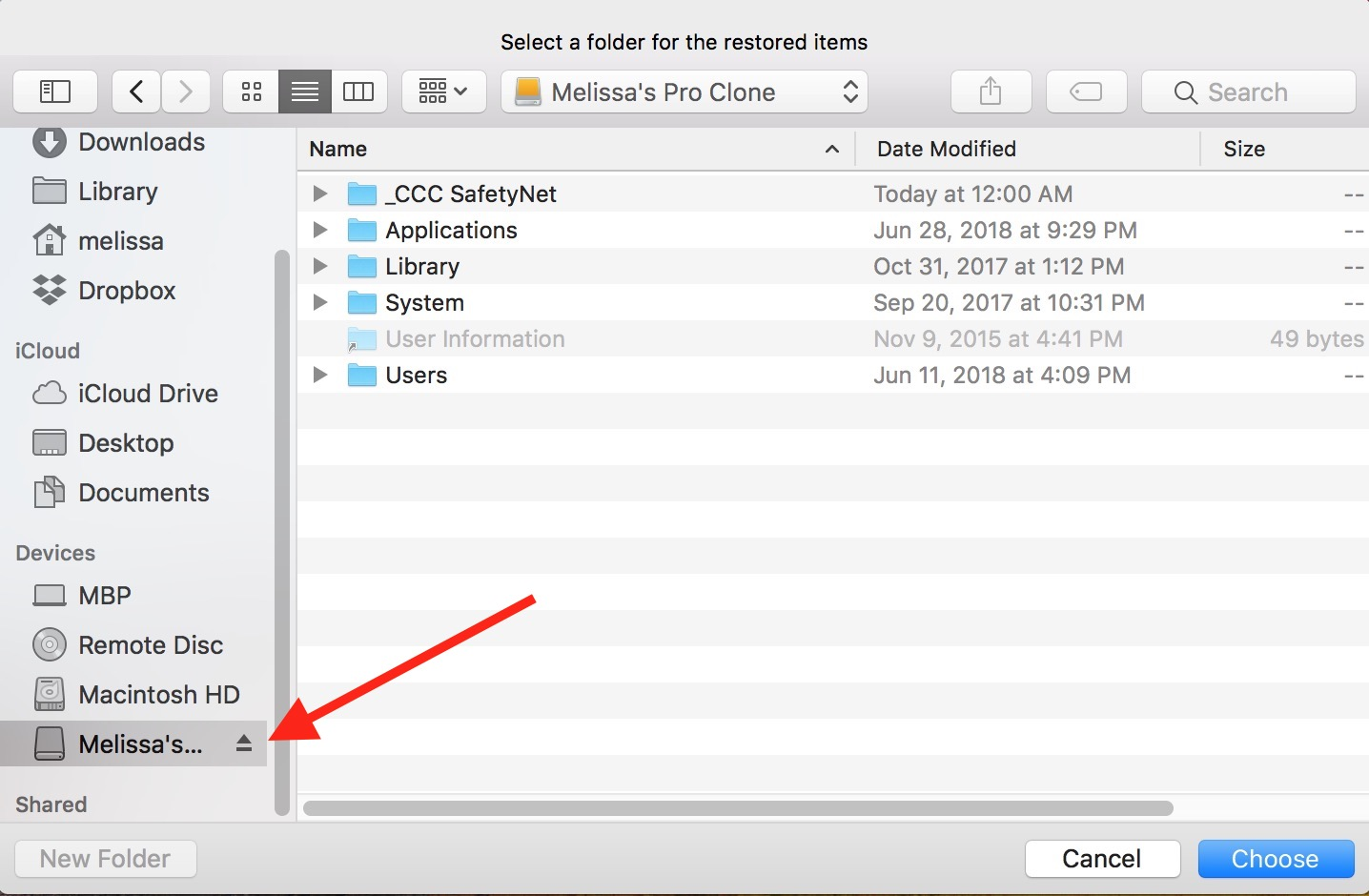 Restoring Files Window for Time Machine on the Mac