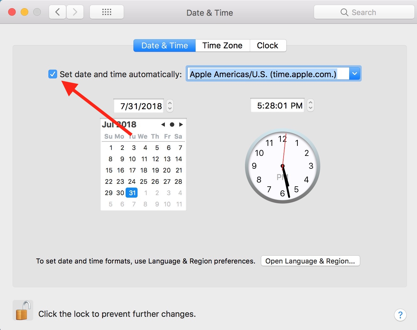 """Set date and time automatically"" Toggle in Mac Date & Time preferences"