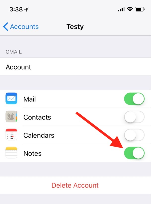 Turning Off Notes Syncing in iPhone iCloud Accounts Settings