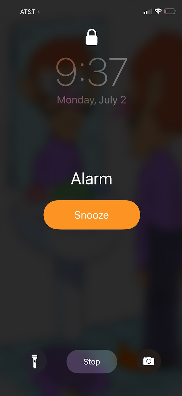 Snooze button for Alarm on iPhone